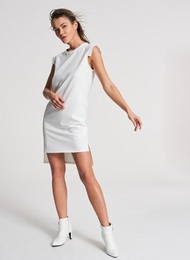 Pi π Arkası Uzun Detaylı Elbise Beyaz